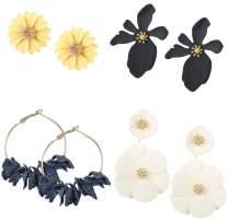 Thunaraz 4Pairs Flower Earrings for Women Boho Statement Chic Daisy Petal Stud Dual Layer Flower Dangle Earrings