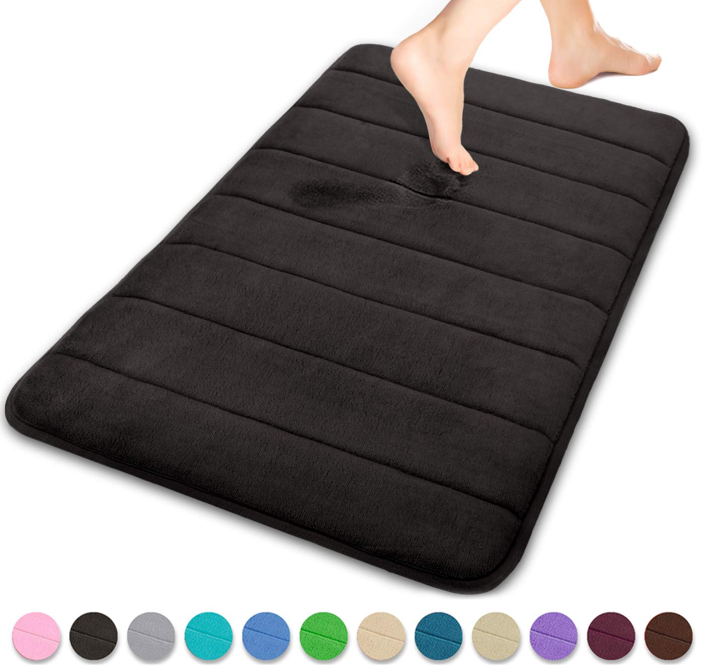 Yimobra Memory Foam Bath Mat Large Size 31.5 by 19.8 Inches, Soft and Comfortable, Super Water Absorption, Non-Slip, Thick, Machine Wash, Easier to Dry Bathroom Floor Rug, Black