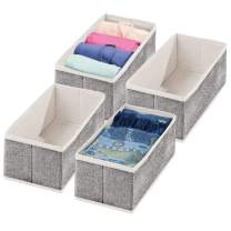 "mDesign Rectangular Soft Fabric Dresser Drawer and Closet Storage Organizer Bin for Lingerie, Bras, Socks, Leggings, Clothes, Purses, Scarves - 12"" Long - Textured Print - 4 Pack - Charcoal Gray"