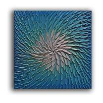 YaSheng Art - 24x24 inch Abstract Painting 3D Metallic Bead Light Blue and Silver Texture Oil Painting on Canvas Abstract Art Pictures Canvas Wall Art Paintings Ready to Hang