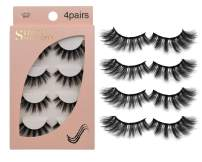 False Eyelashes 4 Pairs - Professional Reusable Face Eyelashes Fit for All Eyes, Natural Thick Hand-Made 3D Faux Mink Eyelashes for a Beautiful Makeup Look (G107)