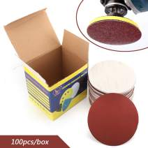 Bruce & Shark 400 Grit 100PCS 6Inch DA Hook & Loop Sandpaper Sanding Discs Sand Sheet