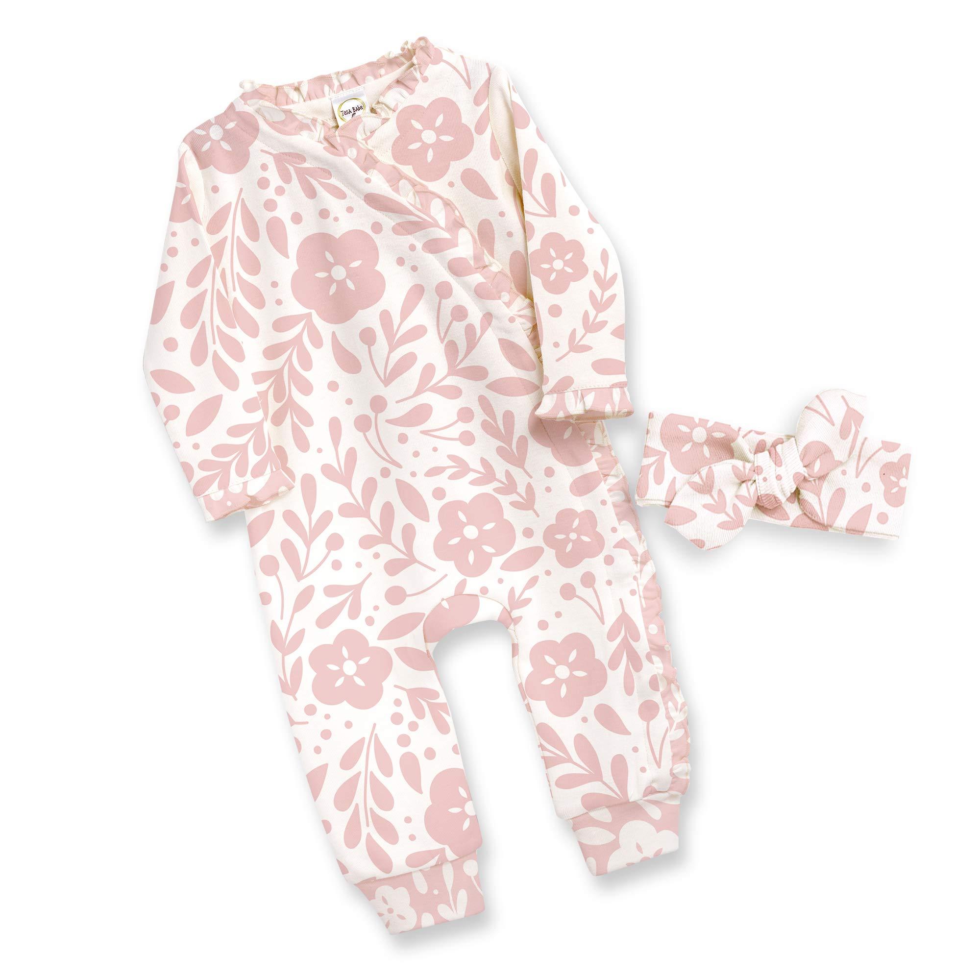 Tesa Babe Baby Girl Romper Gift Set for Newborns to Toddlers in Kimono + Headband, Multi