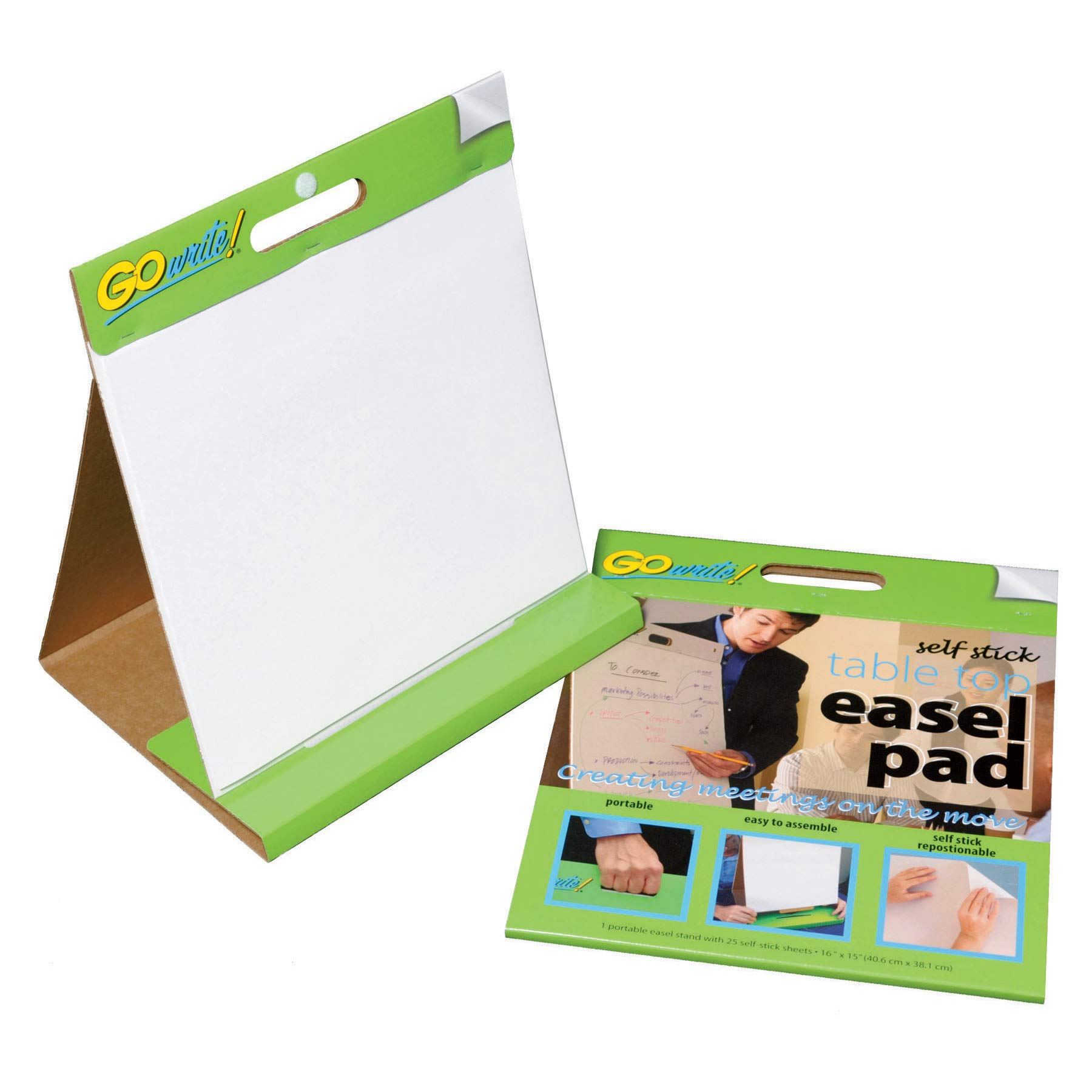 "GoWrite! Self-Stick Table Top Easel Pad, 16""X15"", 25 Sheets"