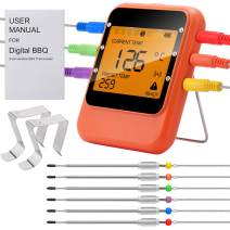 OnTWay BBQ Meat Thermometer, Bluetooth Remote Cooking Thermometer, Digital Oven Thermometer with 6 Stainless Steel Probes for Cooking, Smoker Grill ,Barbecue