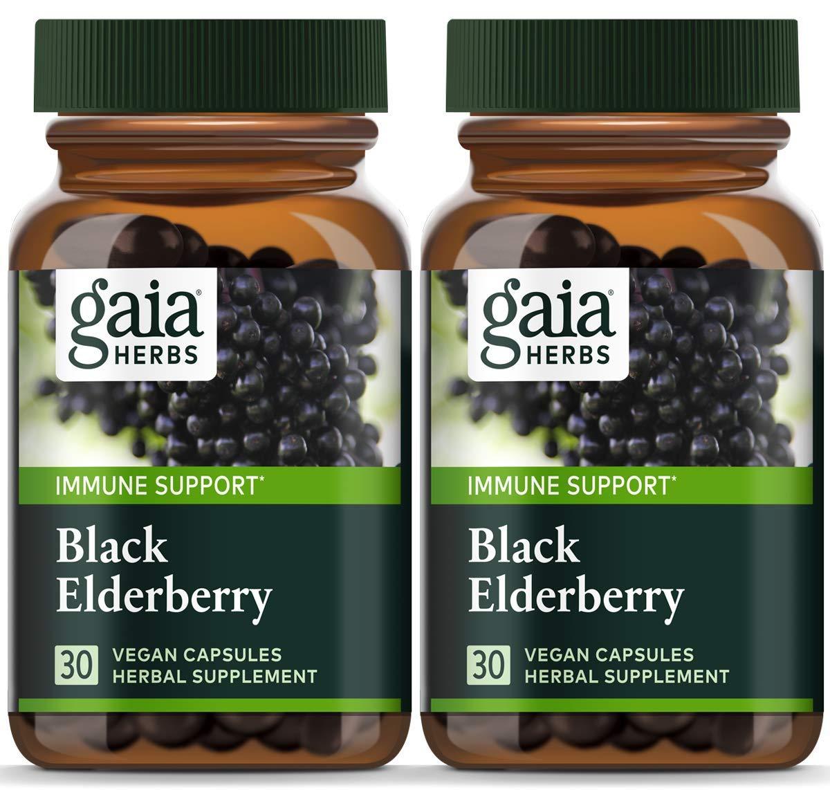 Gaia Herbs, Black Elderberry, Organic Sambucus Elderberry Extract for Daily Immune and Antioxidant Support, Vegan Powder Capsules, 30 Count (Pack of 2)