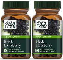 Gaia Herbs, Black Elderberry, Organic Sambucus Elderberry Extract for Daily Immune and Antioxidant Support, Vegan Powder Capsules, 30 Count (Pack of 2)