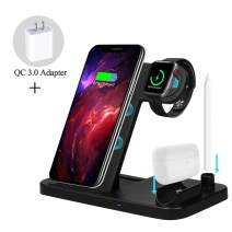 ZHOUBIN Wireless Charging Dock, Wireless Charger Station for Smartphones(Qi-Certified), Foldable Charging Stand for iPhone AirPods Pencil iWatch(Magnetic Charger Included)
