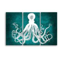 EZON-CH Modern Art Octopus Canvas Art Picture Printed Painting on Canvas Stretched and Framed for Home 48x32 Inch Total (Green and White)