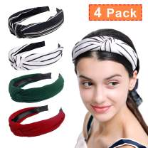 DECYOOL 4 Pcs Wide Headbands Hair Band Knot Turban Headwraps, Fashion Women Girls Accessories Set
