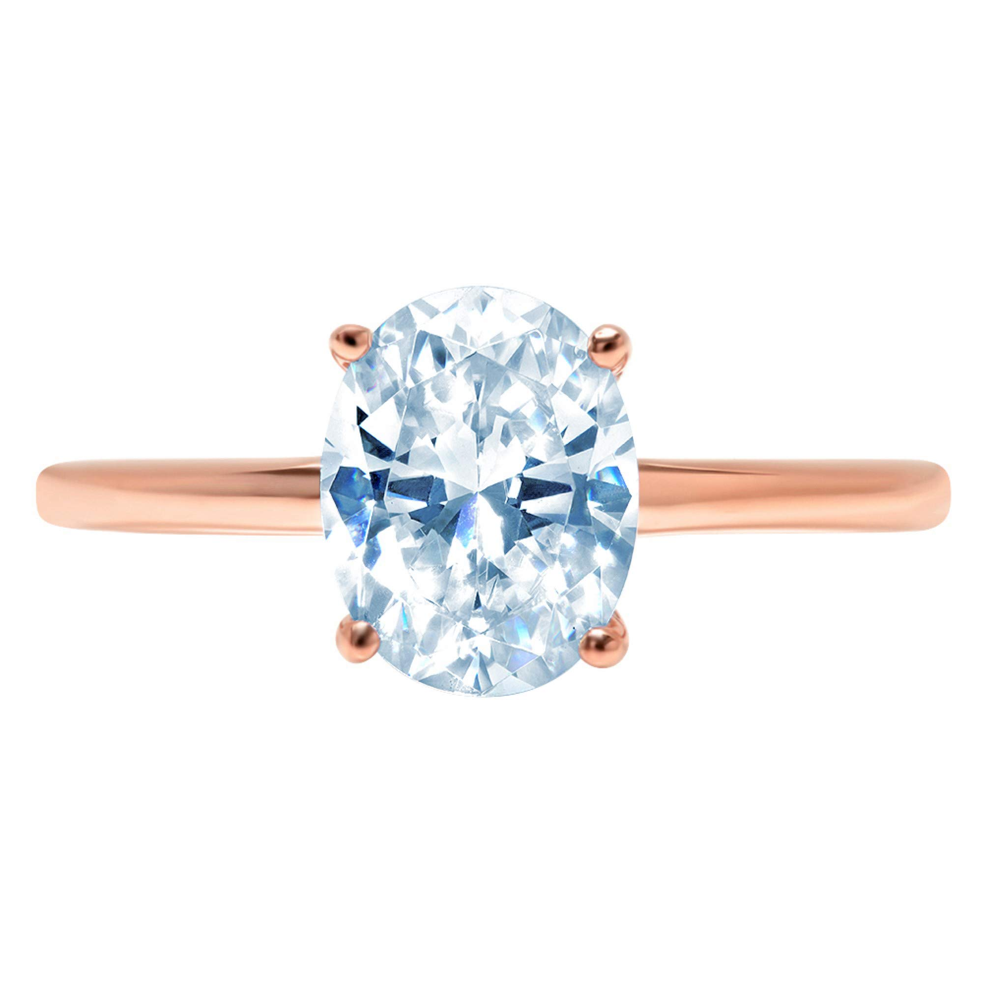 1.95ct Brilliant Oval Cut Solitaire Aquamarine Blue Simulated Diamond CZ Ideal VVS1 D 4-Prong Classic Designer Statement Ring Solid Real 14k Rose Gold for Women