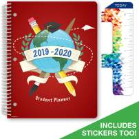 """Dated Elementary Student Planner for Academic Year 2019-2020 (Matrix Style - 8.5""""x11"""" - Red Globe) - Bonus Ruler/Bookmark and Planning Stickers"""