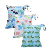 Cloth Diaper Wet Dry Bags Set Waterproof Reusable Dual Zipper for Baby Kids Gym Travel Laundry Swimsuit Towel 3pcs (WB02-Squid-Sailing-Sea)
