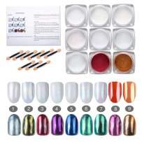 Wanapure Chrome Nail Powder, 9 Jar Pearl Powder, Aurora Iridescent Metallic Nails Powder Set, Mirror Effect Nails Pigment Manicuring Rainbow Nail Dust Powder, 0.04oz/1g (9 Colors)