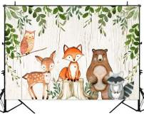 Sensfun Woodland Adventure Baby Shower Birthday Backdrop Jungle Woodland Animals Photography Background 7x5ft Forest Little Creatures Baby Shower Decorations Party Banner Backdrops