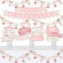 Big Dot of Happiness Mis Quince Anos - Banner and Photo Booth Decorations - Quinceanera Sweet 15 Birthday Party Supplies Kit - Doterrific Bundle