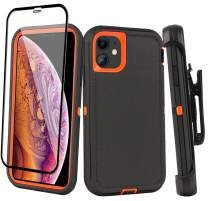 "Aopuly for iPhone 11 Belt-Clip Holster Case (6.1""), Heavy Duty Full Body Rugged Case with Tempered Glass, Drop Protection Shockproof Durable Cover for iPhone 11 6.1-inch"
