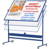 Mobile Whiteboard with Stand - 60x46 Adjustable Height Dry Erase Board with Stand - 360° Reversible Large White Board on Wheels - Portable Rolling Whiteboard Easel, Flip Chart Pad and Holders   Blue