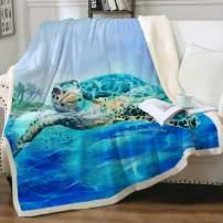 "Sleepwish Sea Turtle Sherpa Fleece Reversible Throw Blanket 3D Ocean World Plush Fuzzy Blankets Blue Nautical Beach Animal Lovers Gift for Children Kids Twin(60""x80"")"