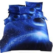 Mengersi Star Galaxy Bedding Set Duvet Cover Set for Teen Kids Boys Gift (Queen, A)