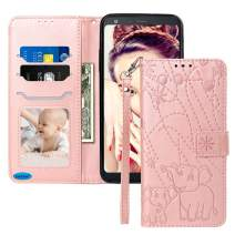 JanCalm for LG Stylo 4 Case New Elephant/Flower Pattern PU Leather Wallet 360 Protection[Card Holder/Cash Slots][Wrist Strap] Stand Flip Magnetic Cover for LG Stylo 4/Q Stylus/Stylo 4 Plus (Rose Gold)