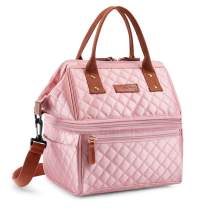 Lunch Bags for Women Wide Open Insulated Lunch Box With Double Deck Large Capacity Cooler Tote Bag With Removable Shoulder Strap Lunch Organizer For Outdoor/Work(Pink)