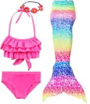4 PCS Girls Swimsuit Mermaid for Swimming Kids Mermaid Set Bathing Suit Princess Costumes School Fashion