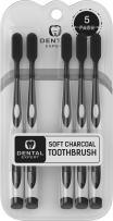 Dental Expert 5 Pack Charcoal Toothbrush [GENTLE SOFT] Slim Teeth Head Whitening Brush for Adults & Children - Ultra Soft Medium Tip Bristles (Black)
