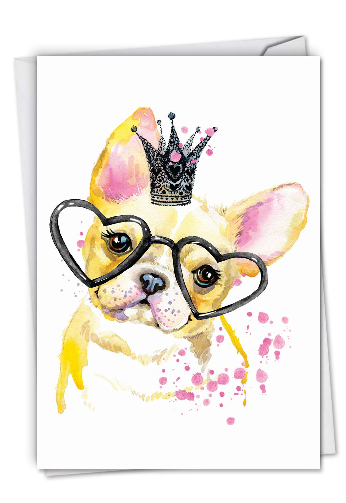 Funky Colorful Creatures Dog - Watercolor Painted Happy Birthday Note Card with Envelope (4.63 x 6.75 Inch) - Cute Pug Puppy in Crown, Animal Greeting Card - Stationery Bday Card for Kids C6749ABDG