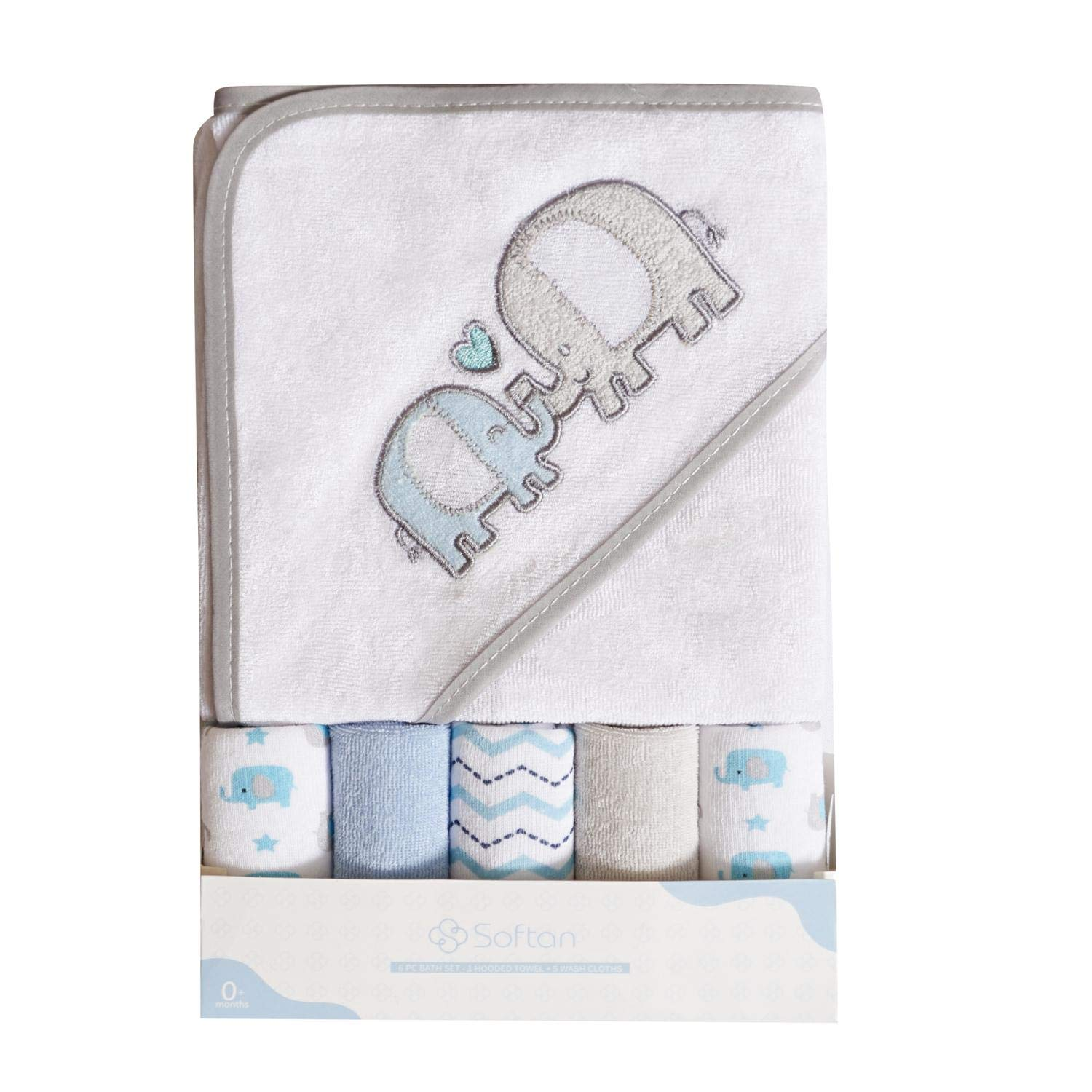 Softan Baby Hooded Bath Towel and Washcloths, Extra Soft and Ultra Absorbent, 6 Pack Gift for Newborn and Infants, Elephant