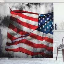 "Ambesonne American Flag Shower Curtain, Banner in The Sky on Cloudy Mist Display National Proud of Heritage, Cloth Fabric Bathroom Decor Set with Hooks, 75"" Long, Grey Red"