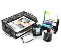EasyPAG 5-Piece Desk Organizer Accessories Set- 2 Tier Desk Tray,Letter Sorter, Pen Holder,Business Card Holder and Stick Note Holder, Black