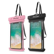 """Procase Universal Waterproof Case Cellphone Dry Bag Pouch for iPhone 11 Pro Max Xs Max XR XS X 8 7 6S Plus SE 2020, Galaxy S20 Ultra S10 S9 S8 +/Note 10+ 9, Pixel 4 XL up to 6.9"""" -2 Pack, Pink/Black"""