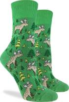 Good Luck Sock Women's Moose in the Forest Socks - Green, Adult Shoe Size 5-9