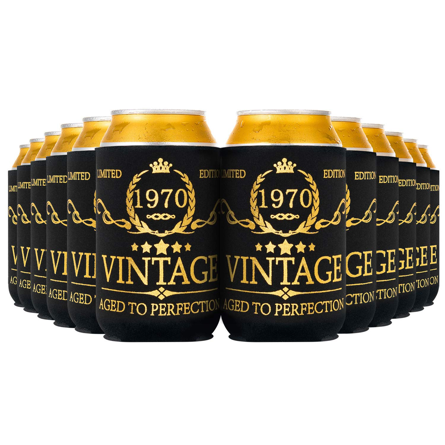 Crisky Vintage 1970 Can Coolers 50th Birthday Beer Sleeve Party Favor 50th Birthday Decoarions Black and Gold, Can Insulated Covers Neoprene Coolers for Soda, Beer, Beverage