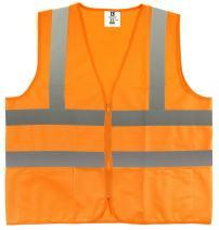 ÿTR Industrial Orange Safety Vest, Large, 2 Pockets Knited