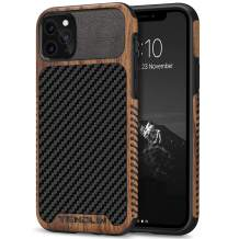 TENDLIN Compatible with iPhone 11 Pro Max Case Wood Grain with Carbon Fiber Texture Design Leather Hybrid Case