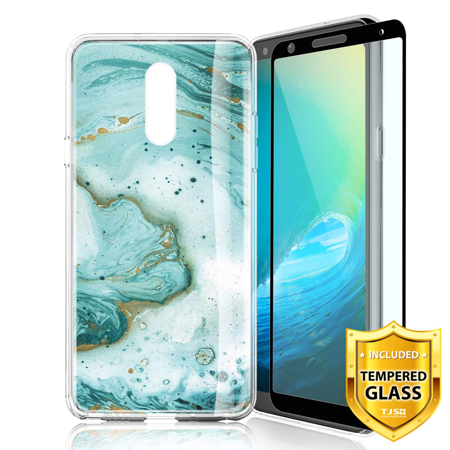 TJS Phone Case for LG Aristo 4 Plus X320/LG X2 2019/LG K30 2019, with [Full Coverage Tempered Glass Screen Protector] Ultra Thin Slim TPU Matte Color Marble Transparent Clear Soft Skin (Green)