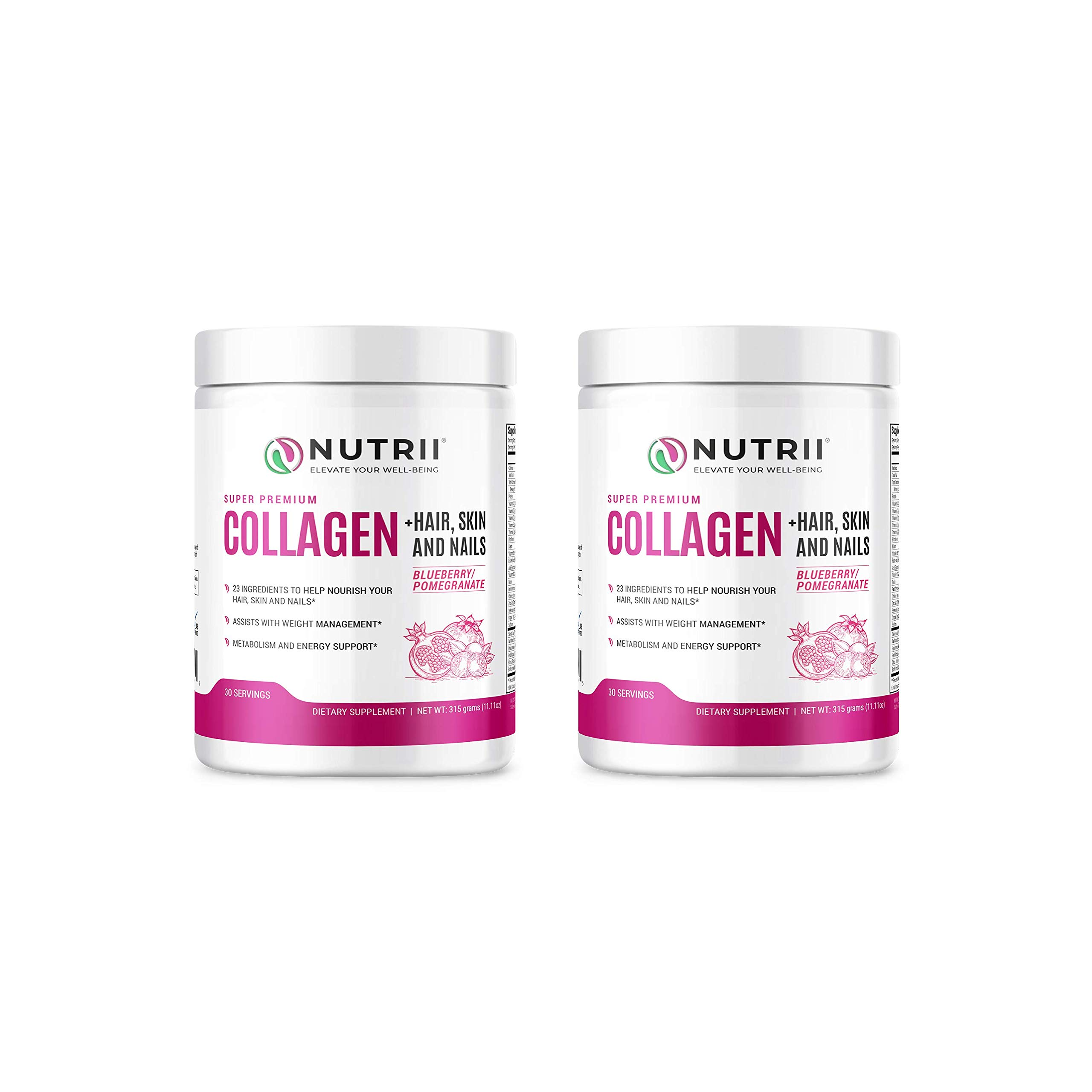 Nutrii Grass-Fed Hydrolyzed Collagen Peptides Protein Powder, Anti-Aging Skin, Joint, Hair, Skin, Supplement, Build Lean Muscle, Restore Natural Energy, 11.1 oz, 30 Servings, Blueberry-Pom (2 Pack)
