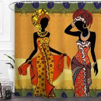 Baccessor African Girl Women Shower Curtain Vintage Ancient Afro Black Girl Women are Dancing Ethnic Afrocentric Art Durable Waterproof Fabric Bath Curtain Bathroom Home Decor with Hooks, 72 x72 Inch