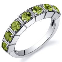 7 Stone 1.75 Carats Peridot Band Ring in Sterling Silver Rhodium Nickel Finish Sizes 5 to 9