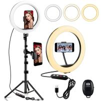 """10"""" LED Ring Light,Selfie Circle Ring Light with Phone Holder&Tripod Stand,Flexible Desk Dimmable Ringlight for Live Stream,Makeup,YouTube Video,Photography,with Remote"""