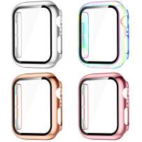 GEAK Compatible for Apple Watch Case 44mm Series 4 with Screen Protector, HD High Sensitivity Tempered Film Cover for iWatch SE Series 6/5/4 Women Men 4pack Colorful/Silver/Rose Gold/Rose Pink