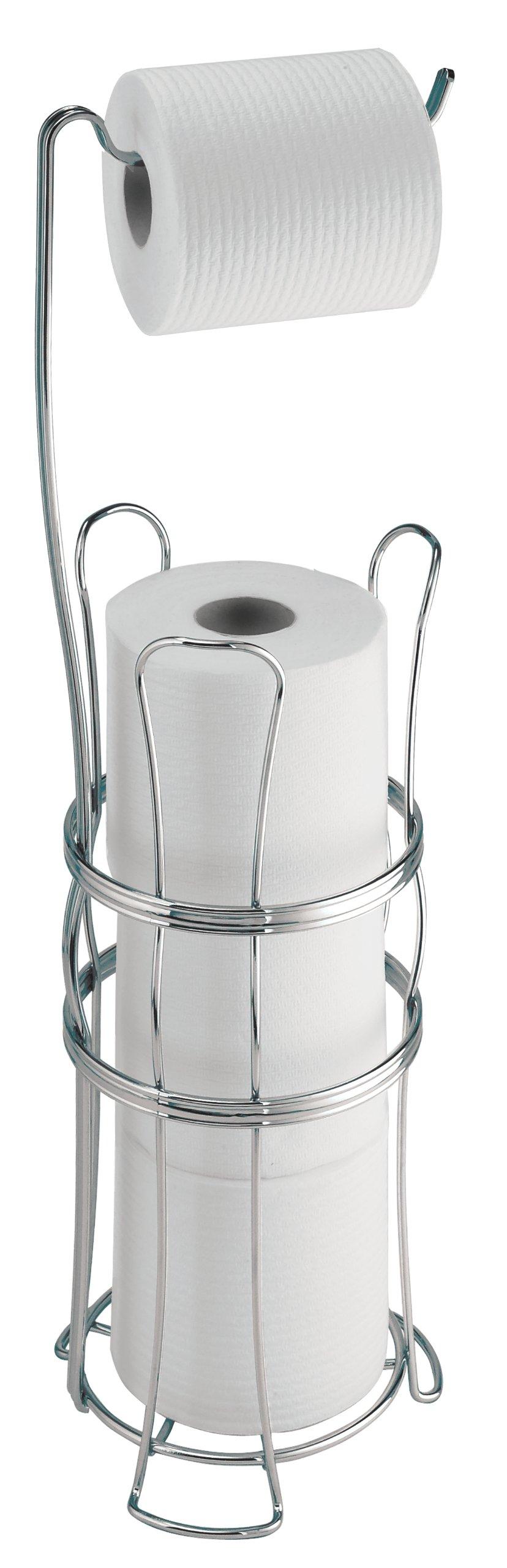 InterDesign York Lyra Free Standing Toilet Paper Holder – Dispenser and Spare Roll Storage for Bathroom, Chrome