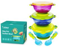 MICHEF Stay Put Suction Bowl, Spill Proof, Baby Bowls with Snap Tight Lids, Baby Gift Set of 3 Count, and 2 Best Baby Spoon and Fork, Perfect for Babies & Toddlers BPA & BPS Free