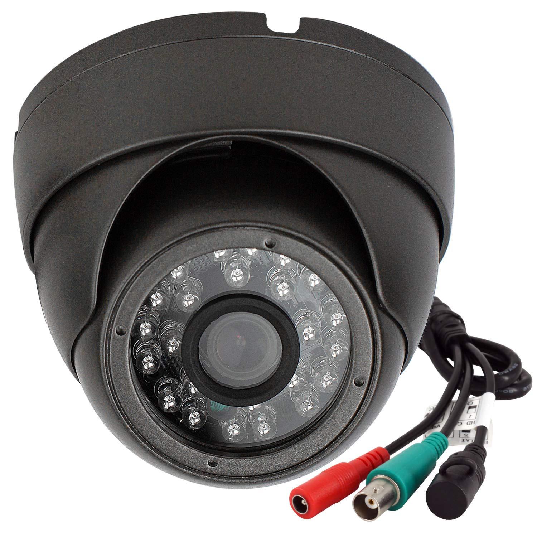 Analog CCTV Camera HD 1080P 4-in-1 (TVI/AHD/CVI/960H Analog) Security Dome Camera Outdoor Metal Housing, 24 IR-LEDs True Day & Night Monitoring 3.6mm Lens (Black)