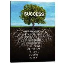 "Success Tree Wall Art Motivational Painting on Canvas Inspiration Entrepreneur Quotes Pictures Posters and Prints Artwork Modern Inspirng Office Decor Living Room Gym Decorations Framed (18""Wx24""H)"