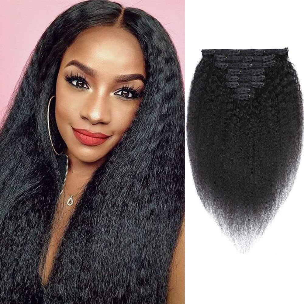 Feelgrace Clip in Hair Extension Human Hair for Women Kinky Straight Clip Ins Extension Yaki Straight Real Virgin Brazilian Hair Weft Silky Soft Clips in Human Hair Kinky Straight (18 Inch, Natural)