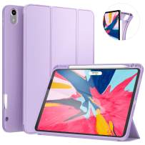 Ztotop Case for iPad Pro 11 Inch 1st Generation 2018 with Pencil Holder- Lightweight Soft TPU Back Cover and Trifold Stand with Auto Sleep/Wake,Support 2nd Gen iPad Pencil Charging,Purple