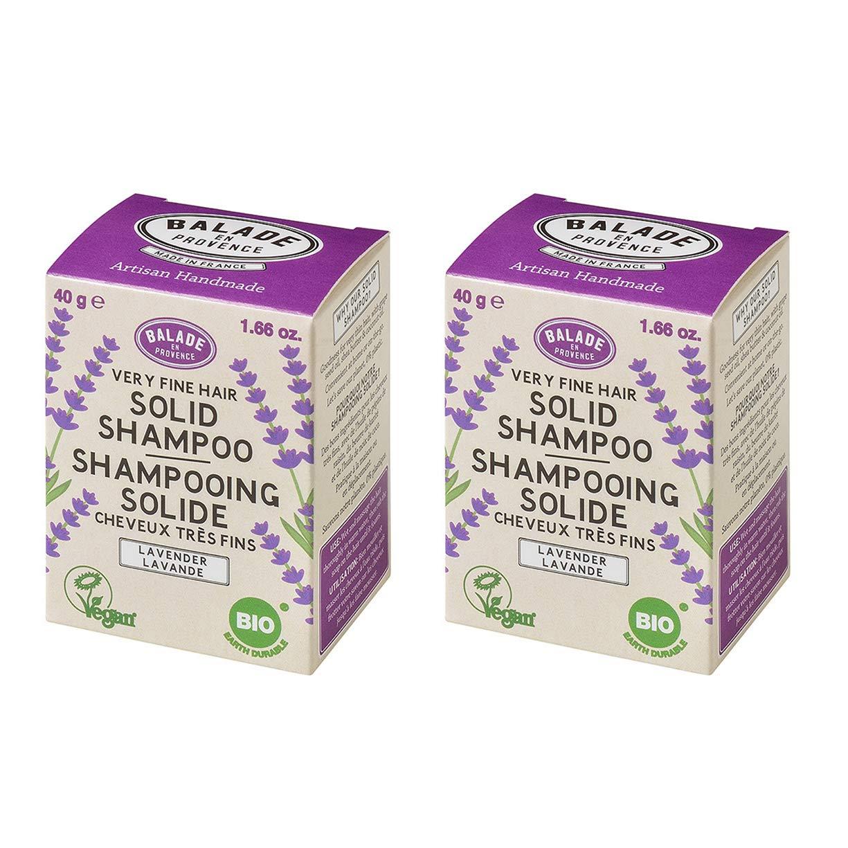 Balade En Provence Women?s Handmade Organic Solid Shampoo Bar, Lavender - Eco Friendly,Nourishing,No Sulfates,Vegan Certified,1.66 oz (Pack of 2)